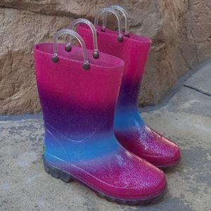 Western Chief light up glitter rainboots size 12
